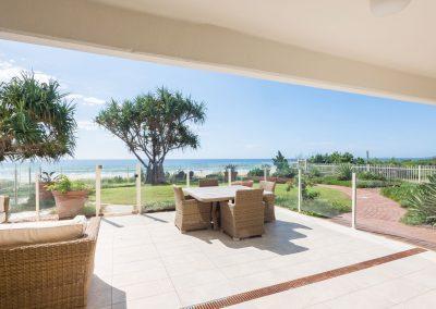 sunny outdoor lounge area